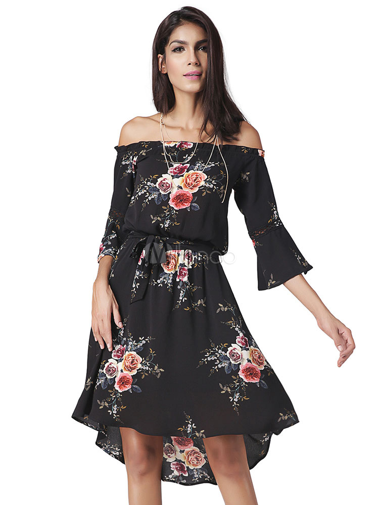 Buy Black Skater Dress Chiffon Off The Shoulder Half Sleeve Floral Printed High Low Flare Dress for $23.74 in Milanoo store