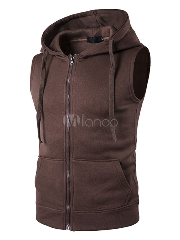 516db369 ... Men Sleeveless Hoodie Cotton Sweatshirt Drawstring Zip Up Vest Hoodie  With Pockets-No.3 ...