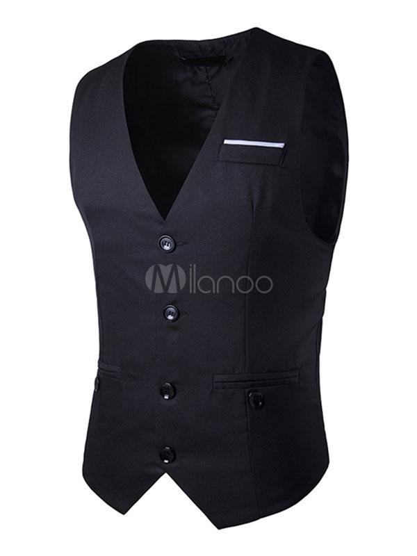 Men's Jacket Vest Black Adjustable Tie Back Single Breasted 4 Button Shaping Waistcoat