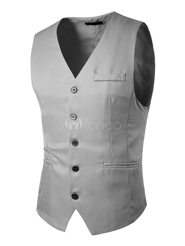 Buy Light Grey Waistcoat Men's Single Breasted 5 Button Regular Fit Jacket Vest for $23.74 in Milanoo store