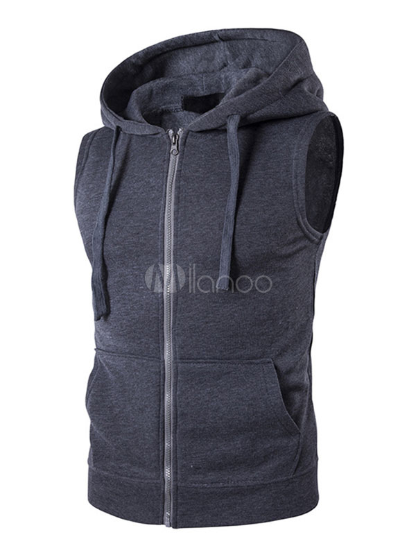 19b17395 Men Sleeveless Hoodie Cotton Sweatshirt Drawstring Zip Up Vest Hoodie With  Pockets-No.1 ...