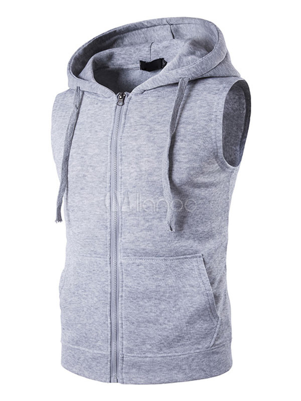1357b64d ... Men Sleeveless Hoodie Cotton Sweatshirt Drawstring Zip Up Vest Hoodie  With Pockets-No.2 ...