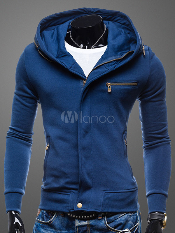 Men's Blue Hoodie Zip Up Long Sleeve Hooded Jacket