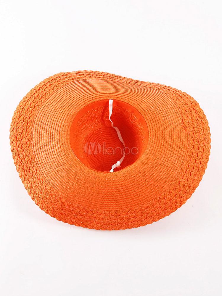 Matrimonio Spiaggia Abbigliamento Uomo : Cappello da sole arancione estate fiori nastro femminile