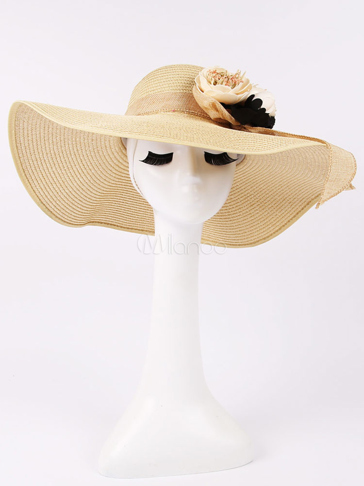 Summer Sun Hat Women's Ivory Flowers Ribbon Straw Beach Hat