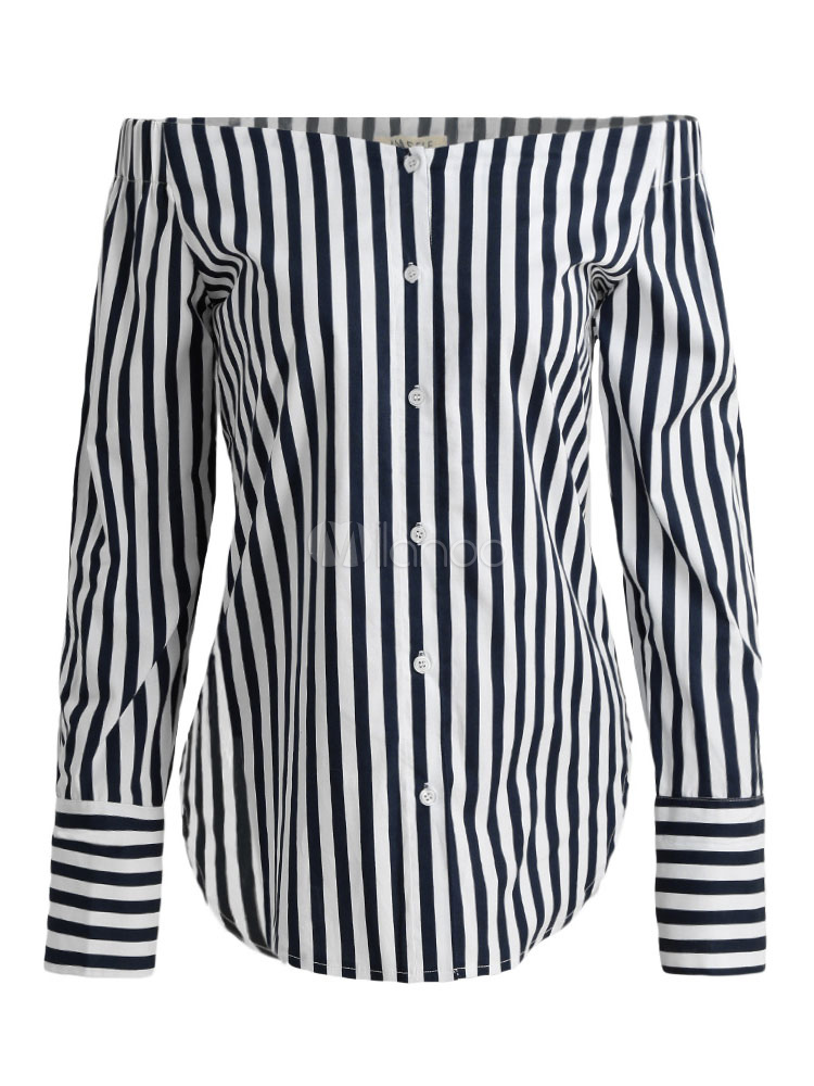 Buy Sexy Black Blouse Women's Off The Shoulder Long Sleeve Striped Cotton Top for $25.49 in Milanoo store