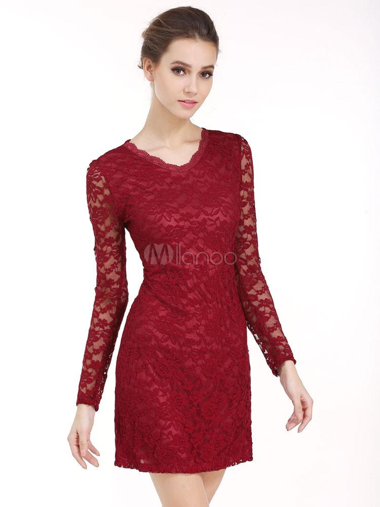 Neck V Damen Spitze kurze Kleid Kleid Slim Langarm Fit Weißes SpMVzU