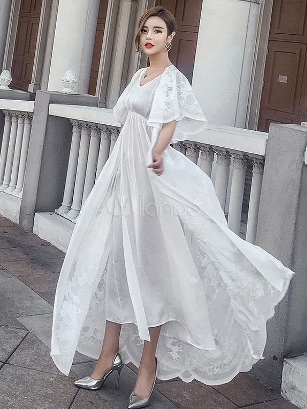 1943ee265bfa V collo mezza manica Lace Maxi abito bianco donna Up abito lungo In Set 2  pezzi ...