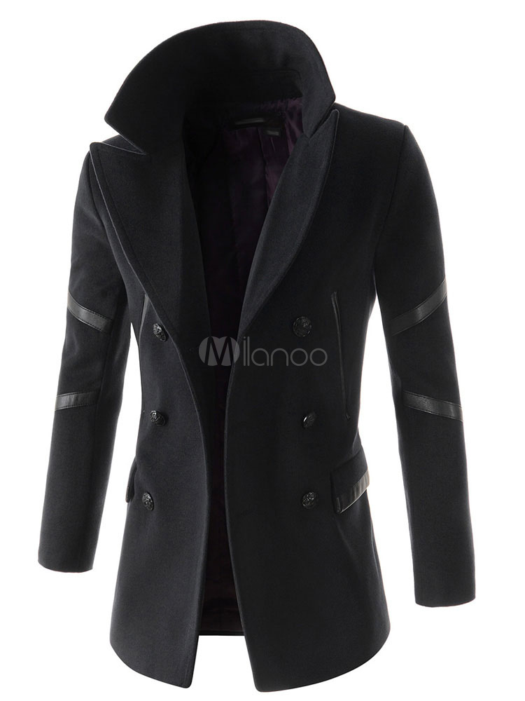 Men Pea Coat Deep Grey Turndown Collar Long Sleeve Double Breasted Casual Outerwear