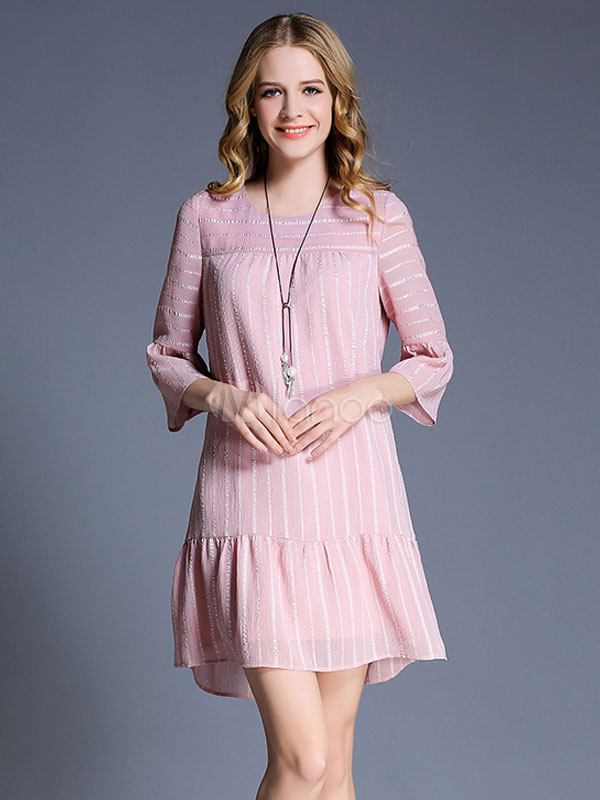 Salmon Shift Dress Plus Size Round Neck Bell Half Sleeve Striped Short Dress For Women