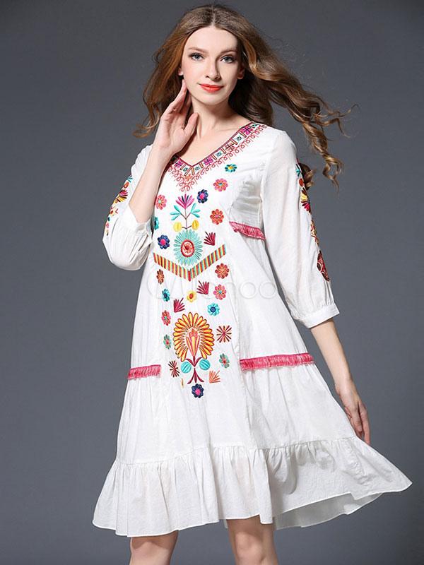 detailed look 9c2e9 865c5 Vestito bianco estate Boho abito V collo 3/4 di lunghezza manica ricamato  Abito oversize