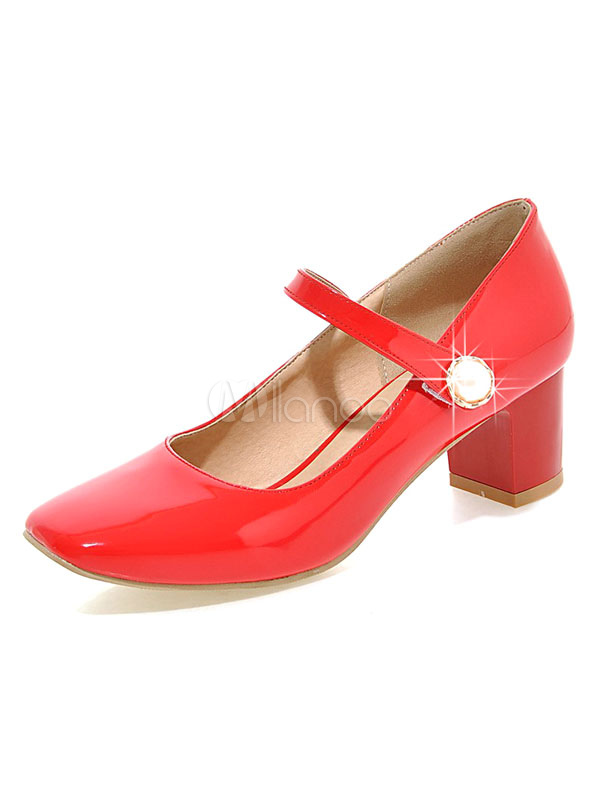 Buy Red Mary Jane Shoes Square Toe Rhinestones Decor Chunky Heel Pumps for $26.99 in Milanoo store