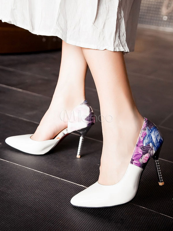 c6923c627a ... Pointed Toe Heels High Heel Light Green Floral Printed Slip On Pumps  For Women-No ...