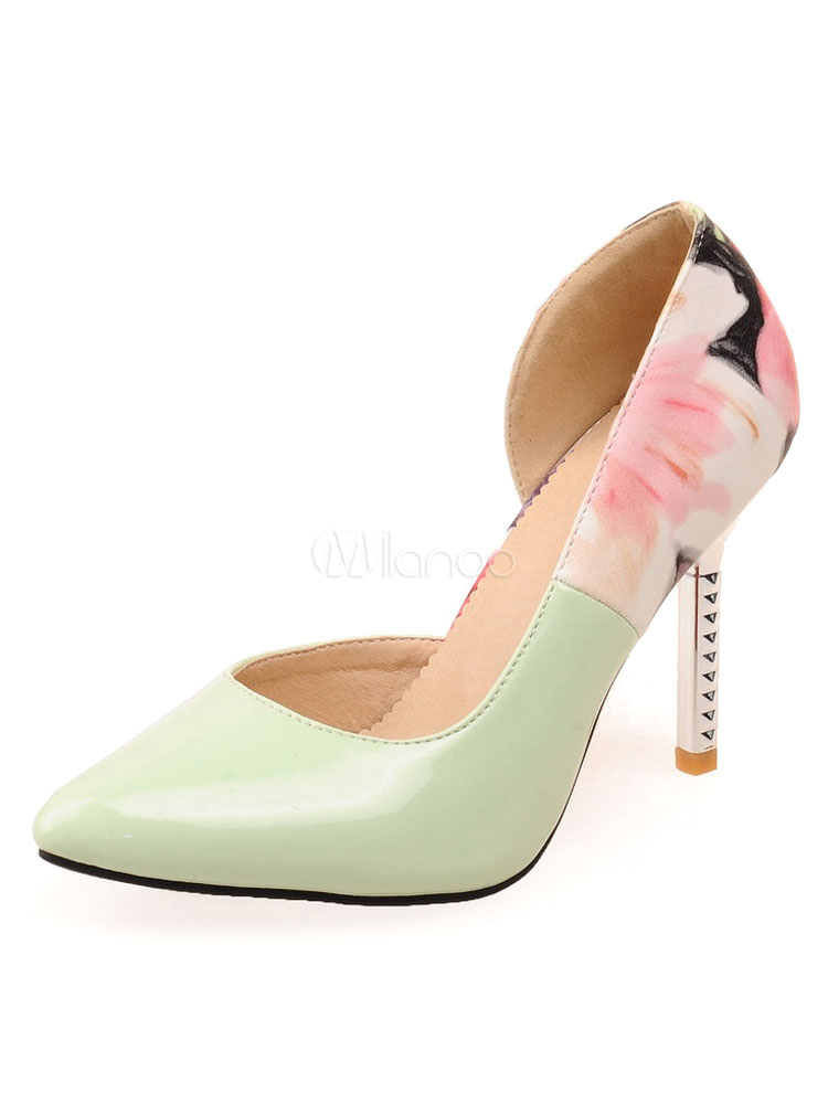 e23589162f Pointed Toe Heels High Heel Light Green Floral Printed Slip On Pumps For  Women-No ...