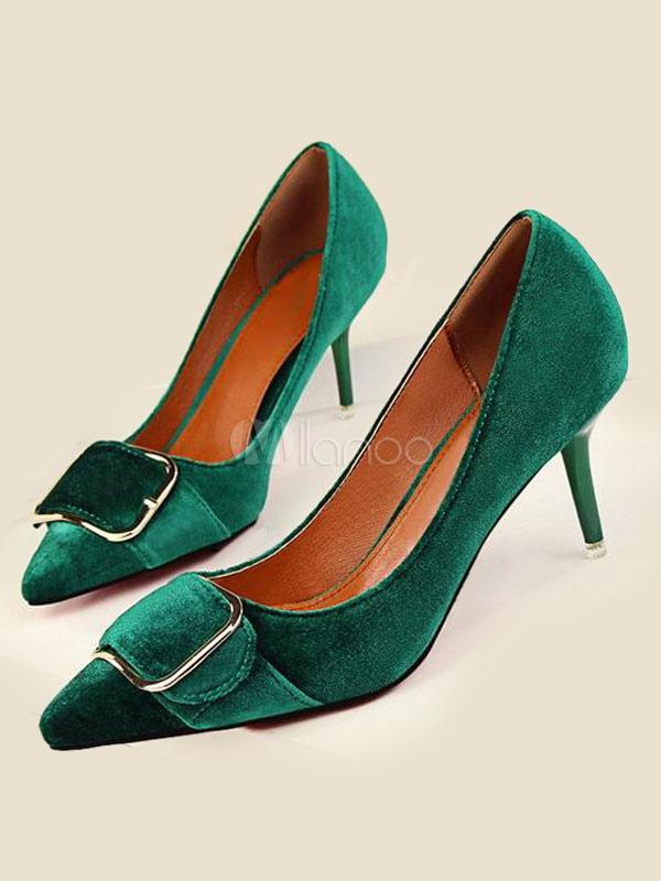 código promocional 5a11b 8469c Frente puntiagudo de Suede tacones verdes abrochada detalle resbalón en los  zapatos de la bomba