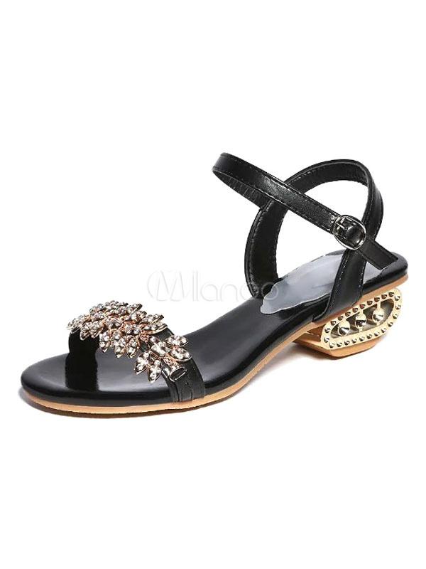 Black Dress Sandals Chunky Heel