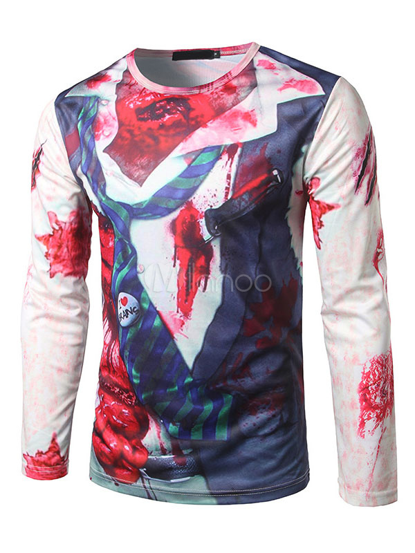 Buy Ecru White T Shirt Men's Round Neck Long Sleeve Fake Two Piece Zombie Printed Casual Top for $17.99 in Milanoo store