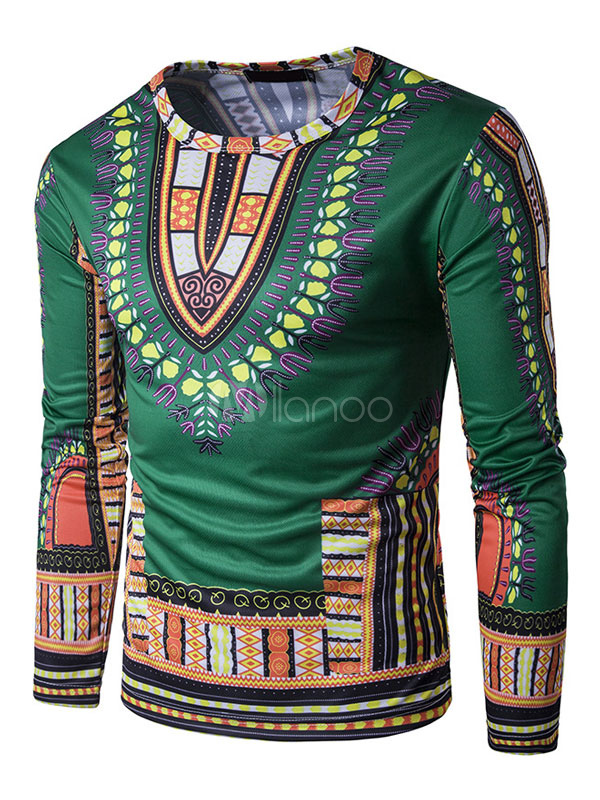 Buy Men's Ethnic T Shirt Fake 2 Piece Round Neck Long Sleeve 3D Printed Green Top for $17.99 in Milanoo store
