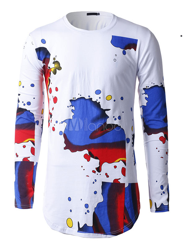 Buy Long Sleeve T Shirt White Round Neck Printed Cotton T Shirt For Men for $17.99 in Milanoo store