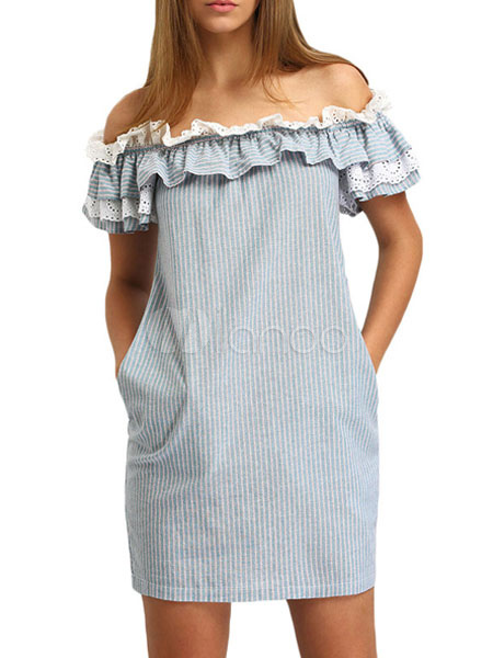 Buy Women's Shift Dress Light Blue Off The Shoulder Short Sleeve Ruffles Stripes Pattern Summer Dress for $28.49 in Milanoo store