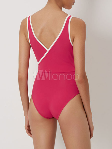 678c59973ae68 ... One Piece Swimsuit Rose Red V Neck Sleeveless Low Back Piping One Piece  Swimwear-No