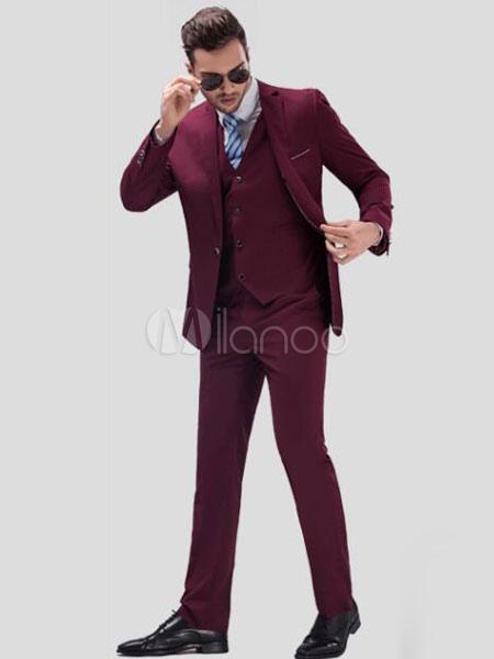 Burgundy Wedding Suit Groom Notch Laple Center Vent Men's Formal Tuxedo Suits In 3pcs