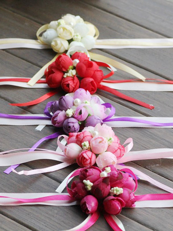 Wedding Wrist Corsage Silk Rose Flowers Ribbons Bridesmaid Prom Corsage