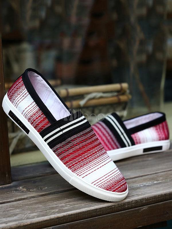 Borgogna mocassino scarpe uomo tondo Toe Slip su scarpe di tela rigato