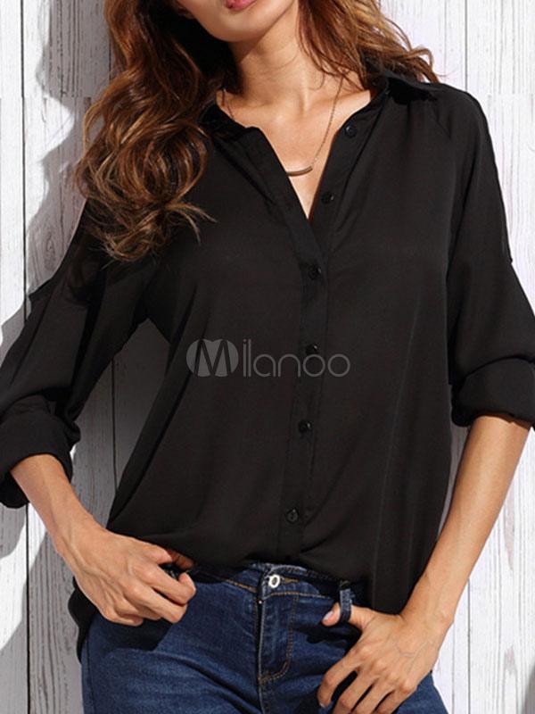 Women's Chiffon Shirt Black Turndown Collar Long Sleeve Cold Shoulder Design Casual Shirt