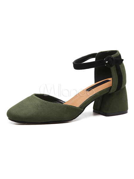 Milanoo / Suede D'orsay Shoes Women's Green Square Toe Ankle Strap Chunky Heel Pump Shoes