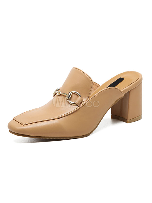 Buy Women's Heeled Loafers Light Brown Square Toe Metal Detail Slip On Mule for $33.24 in Milanoo store