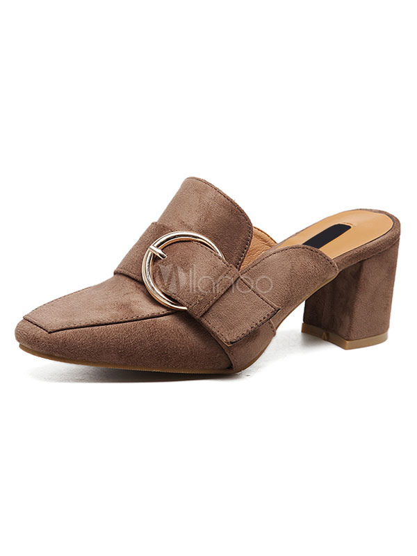 db21fe69d78 Brown Heeled Loafers Suede Square Toe Buckled Detail Chunky Heel Mule For  Women-No.