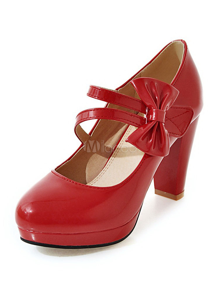 Buy Mary Jane Pumps Women's Round Toe Chunky Heel Bow Decor Block High Heel Platform Shoes for $37.99 in Milanoo store