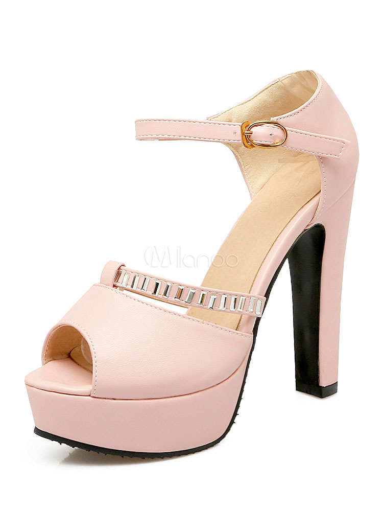 6d8a7ed1208c00 High Heel Sandals Platform Pink Peep Toe PU Ankle Strap Block Heel Sandal  Shoes-No ...