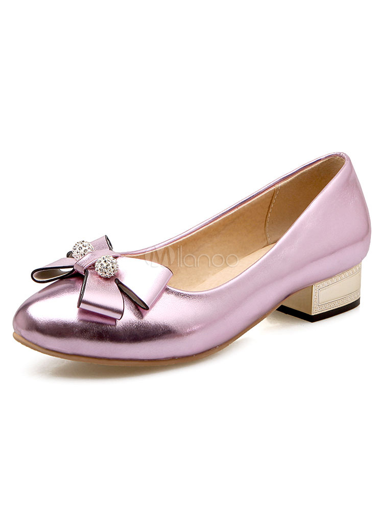 Pink Ballet Shoes Chunky Heel Women's Pointed Toe Rhinestones Beaded Slip On Pumps With Bow
