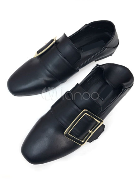 Buy Black Loafer Shoes Women's Square Toe PU Buckle Decor Flat Pump Shoes for $28.49 in Milanoo store