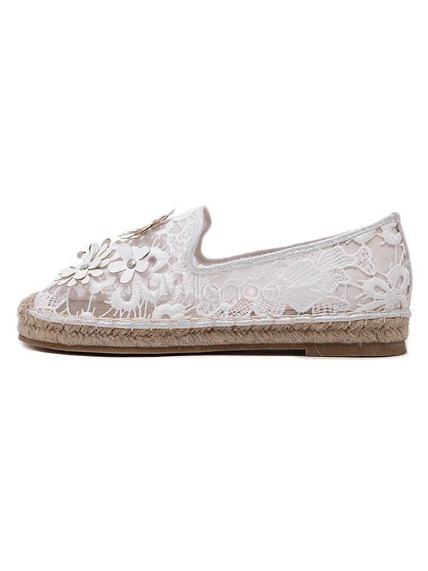 Zapatos Mocasín de puntera redonda para mujer para ocasión informal estilo informal adornado con encaje OLhdPFLb6