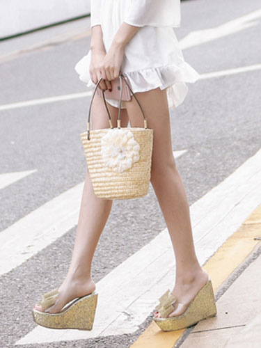 Keil Pantoffeln Obere Goldene Transparente Decor Peep Schuhe Toe Bogen Damen Sandale T1JFKc3l
