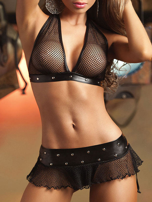 b79b9a5285 ... Black Bra Set Sexy Halter Sleeveless Sheer Bra With Mini Skirt And T  Back-No ...