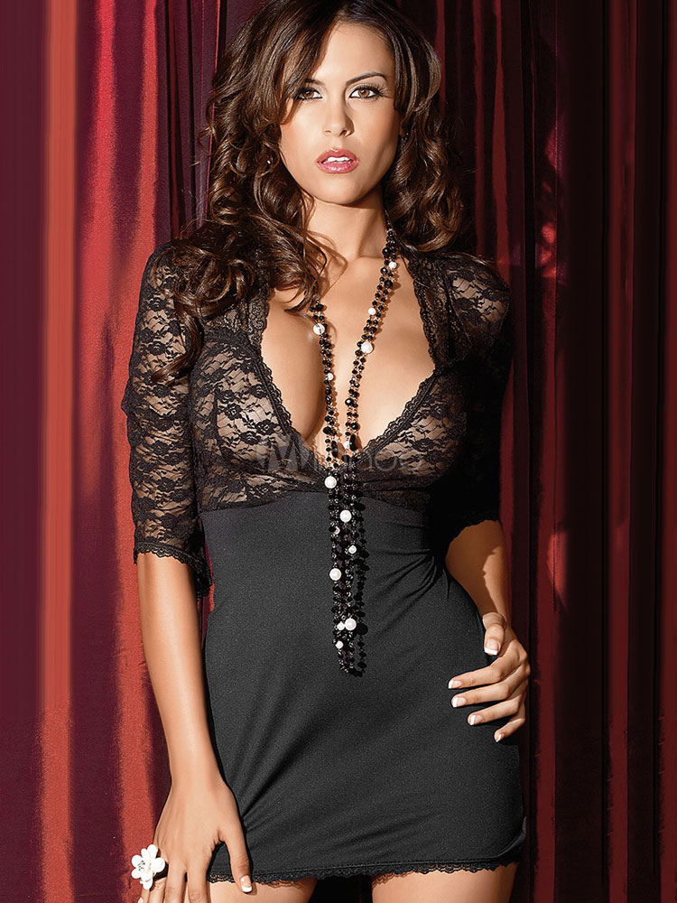 Black Sexy Chemise Lace Patchwork Plunging Neck Half Sleeve Semi-Sheer Chemise Lingerie In 2 Piece Set