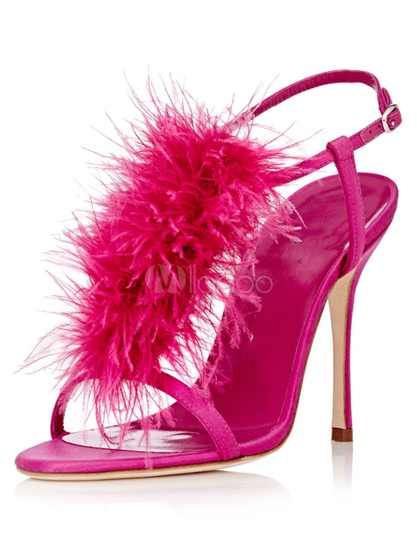 High Heel Sandals Satin Fuchsia T-Type Feathers Detail Stiletto Sandal Shoes For Women
