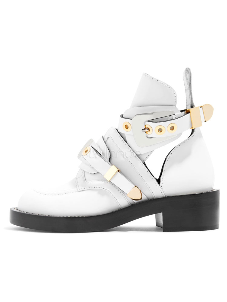 White Leather Boots Women's Round Toe Grommets Decor Cut Out Flat Moto Booties