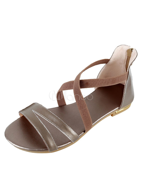 Buy Champagne Flat Sandals Women's Round Toe Zip Up Strappy Sandal Shoes for $24.99 in Milanoo store