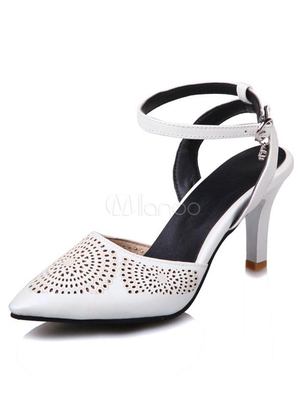 1bddce3f056f Pointed Toe Heels Kitten Heel Women s White Rhinestones Beaded Slingbacks  Ankle Strap Pumps-No.