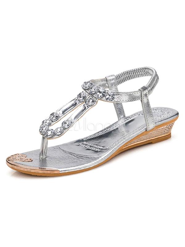 best website f1356 7d061 Silberne flache Sandalen Boho Strass Perlen Slingpumps Beach Strand Sandale  Schuhe für Frauen
