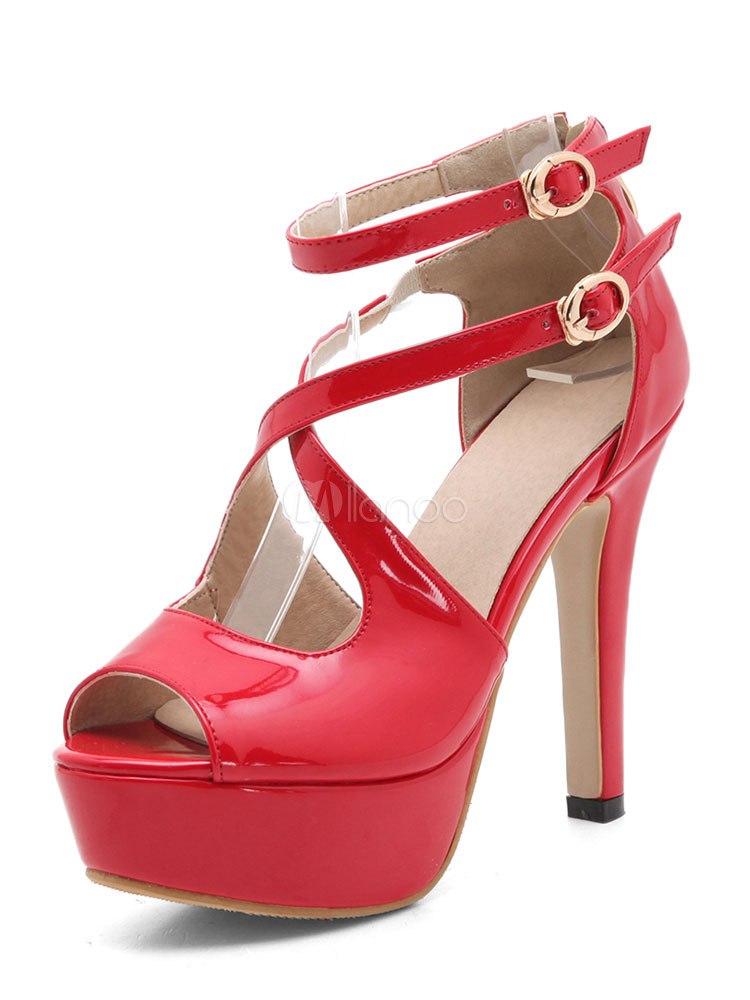 Milanoo / Peep Toe Pumps Women's Red Stiletto Double Buckle Cut Out High Heel Shoes
