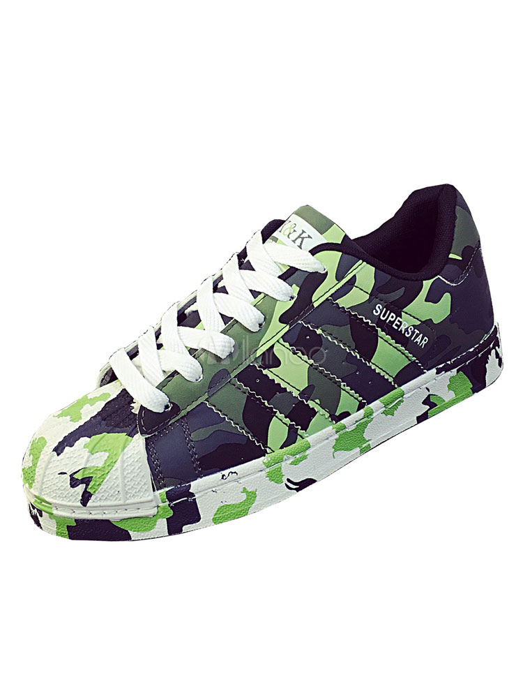 Buy Women's Green Sneakers Camouflage Pattern Round Toe Lace Up Casual Shoes for $26.99 in Milanoo store