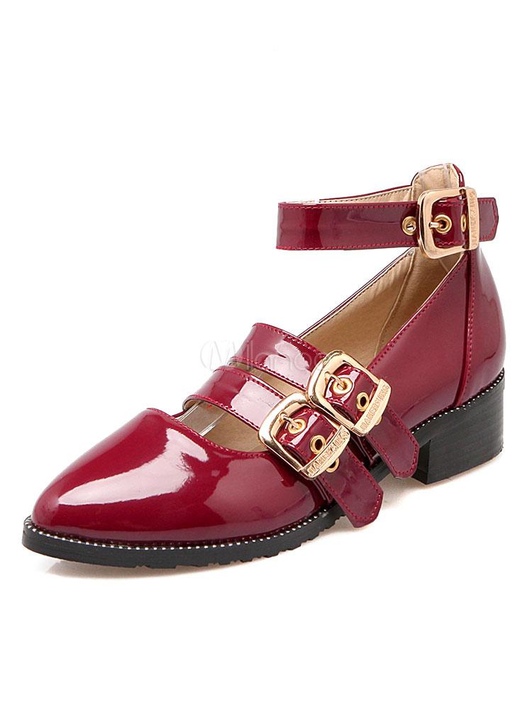 Zapatos de tacón medio de puntera puntiaguada de tacón gordo estilo modernoestilo street wear Charol PU UOQesejv5g
