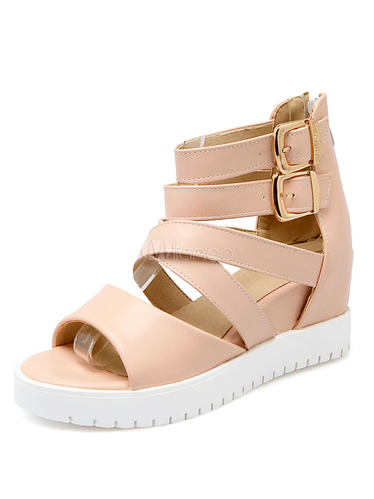 Pink Strappy Sandals Hidden Heel Women's Round Toe Buckle Detail Breathable Sandal Shoes