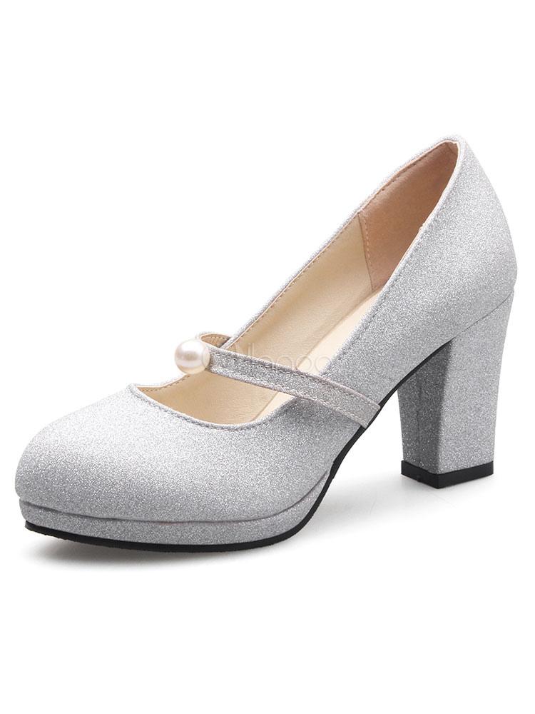 vasta selezione di 45355 e92d5 Scarpe con tacco grosso a punta rotonda con cinturino glitter da donna